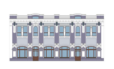 architectural styles: Flat Illustration of an XIX Century Building Illustration