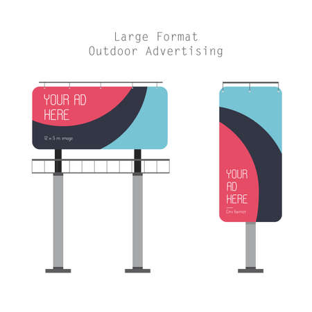 outdoor advertising: Flat Illustration of the Large Format Outdoor Advertising