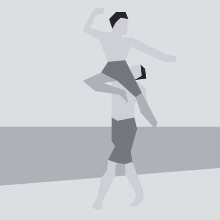 stylish couple: Illustration in Simplistic Flat Style of Two Men Dancing Illustration