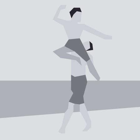 simplistic: Illustration in Simplistic Flat Style of Two Men Dancing Illustration