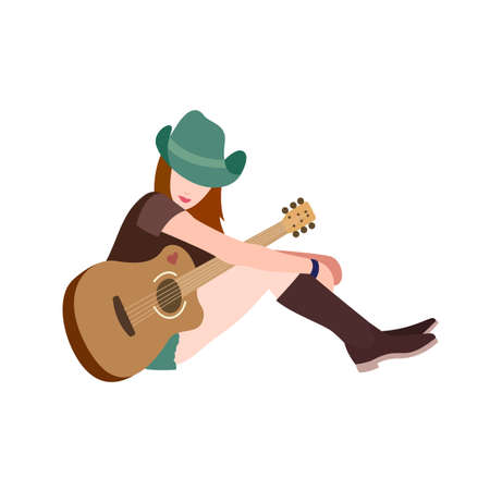 country girl: Illustration of a Cute Girl in Hat Looking like Country Player