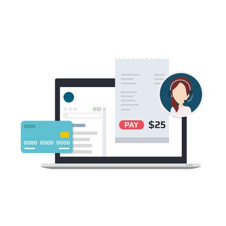 Illustration eines Billing-Software, die Benutzern erlaubt, Zahlungen zu leisten, Kreditkarte oder Rechnungen verwenden, Technischer Support