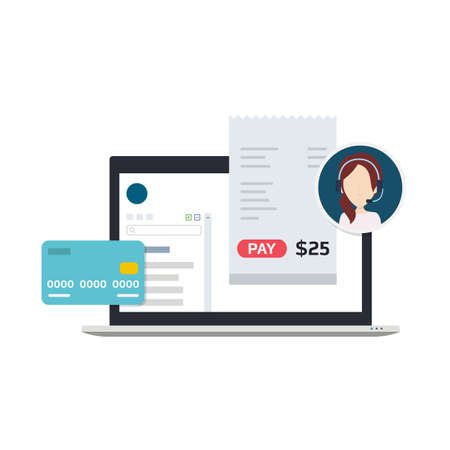 Illustration of a Billing Software which Allows Users to Make Payments using Credit Card or Invoices, Get Technical Support