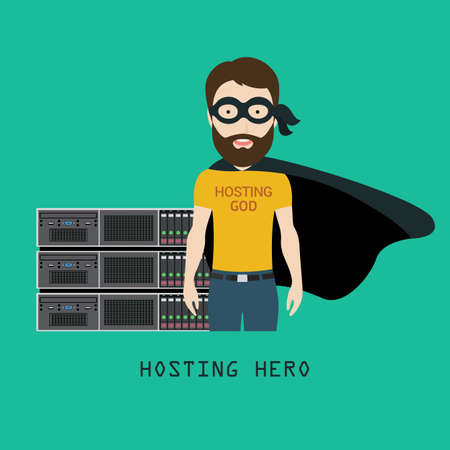 hardware configuration: Conceptual Illustration of a Skilled Hosting Admin or Specialist Standing in front of Server Equipment as a Hosting Hero