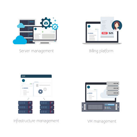 billing: Set of Illustrations or Icons of Software Products for Hosting Providers Including Billing, Virtual Private Server or VPS, Hosting and DCI Management Tools