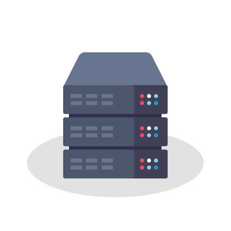rack server: Flat Style Illustration or Icon of a Server Rack Illustration