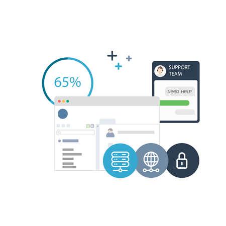 Illustration d'une solution logicielle pour les paiements, technique et de contrôle des différents aspects Hosting Banque d'images - 60560554