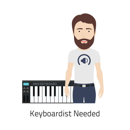 job vacancy: Illustration of a Bearded Man with MIDI Keyboard. Could be used for Keyboardist Job Vacancy. Illustration