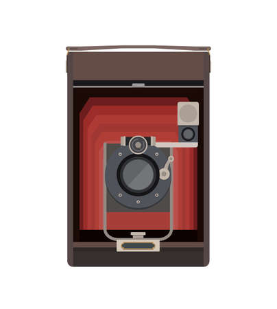 Illustration in Flat Style of a Retro Style Camera
