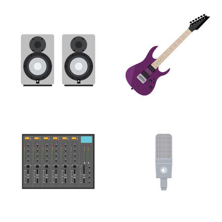 acoustics: Set of Illustrations in Flat Style of Rock Music Gear. Includes Guitar, Mixer, Microphone, Acoustics