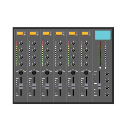 fader: Illustration in Flat Style of a Small Music Mixer
