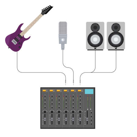 plugged: Illustration in Flat Style of Studio Mixer With Plugged Music Gear Including Guitar, Microphone and Acoustics Illustration