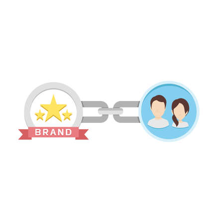 Conceptual Flat Illustration of Chain, Customers and Brand Depicting Brand Loyalty