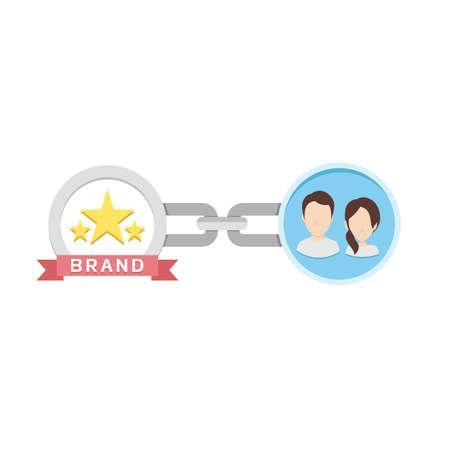 Piso conceptual Ilustración de la cadena, los clientes y la marca que representa la lealtad de marca Ilustración de vector