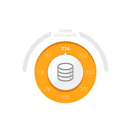 selector: Flat Illustration of a Database Version Selector for Server