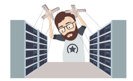 Conceptual Flat Illustration of Man as a Puppet Master Controls Datacenters and Servers Racks Illustration