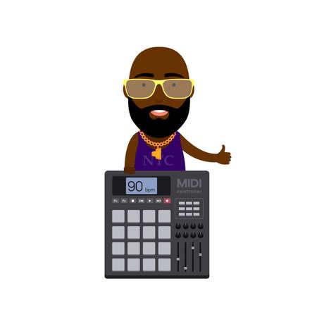 Illustration plate d'un homme hip-hop avec contrôleur MIDI avec des tampons Banque d'images - 61664350