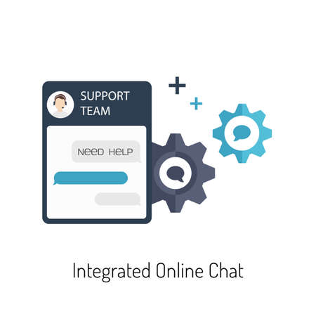 Flat Illustration of a Live Chat for a Website Çizim
