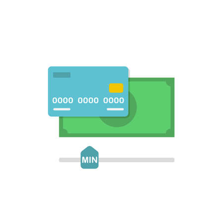 minimum wage: Conceptual  Flat Illustration with Cash and Credit Card Depicting Minimum Amount of Money on an Account for Withdrawal Illustration