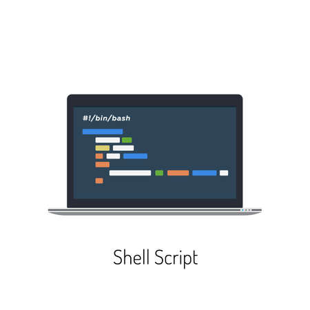 Flat Illustration of a Laptop With a Shell Script on It