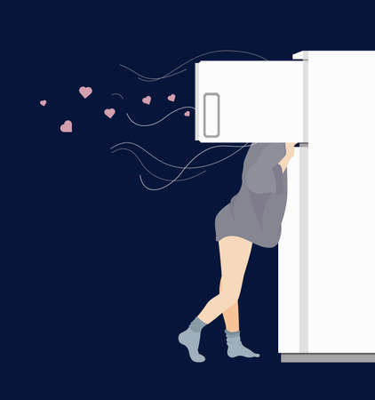 Conceptual Flat Illustration of Girl and Opened Refrigerator Depicting Hunger, which Comes at Night Ilustração