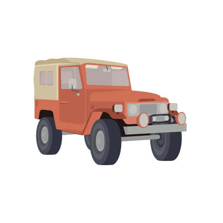 Vector Flat Illustration of a Jeep Car or a SUV Vehicle, Which Is Ideal For Off-road Adventures Like Safari