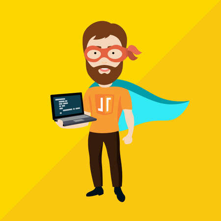 Conceptuel Vector Flat Illustration d'un homme avec un ordinateur portable Décrivant ses compétences avancées en programmation Vecteurs