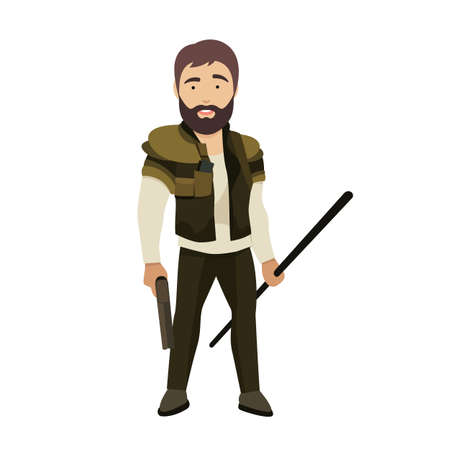 Vector Flat Illustration of a Strong Male Zombie Hunter Character Ilustração