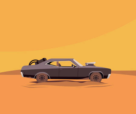 mad: Vector Flat Illustration of a Vehicle for the Apocalypse