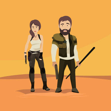 Vector Flat Illustration of a man and a Woman as Post Apocalyptic Survivors Ilustração