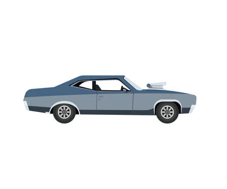 Vector Flat Illustration of a Retro Muscle Car Çizim