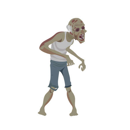 Vector Flat Illustration of an Ugly Zombie in Pants