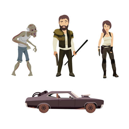 Set of Vector Flat Illustration on a Post Apocalypse Theme Including Man, Woman, Zombie and Car Illustration