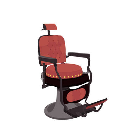 Flat Vector Illustration of a Vintage Barber Chair