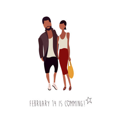 Flat Vector Illustration of a Hipster Looking Couple with a Shopping Bag Stock Photo