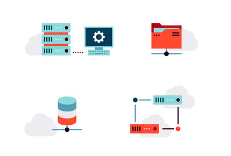 Set of Virtualization or Cloud Infrastructure Vector Icons. Flat Style Ilustração