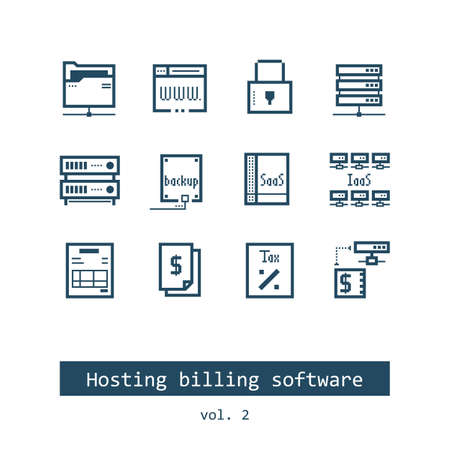 Set of Hosting Billing Software Vector Icons Reklamní fotografie - 69224587