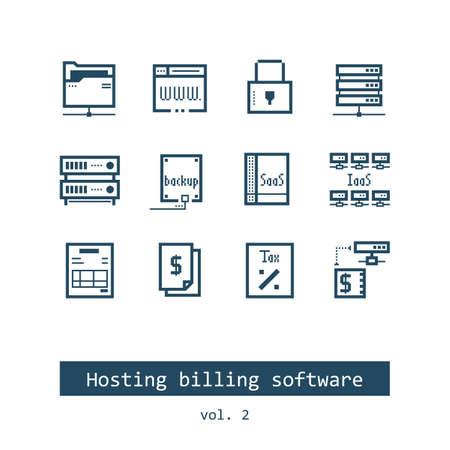 Set of Hosting Billing Software Vector Icons Illustration