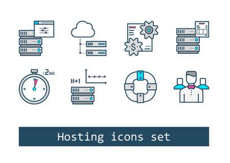 Set of Hosting Outline Flat Vector Icons Reklamní fotografie - 69224588