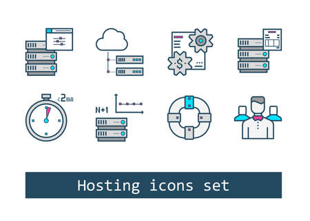 Set of Hosting Outline Flat Vector Icons Illustration