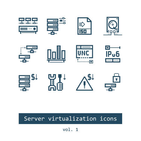 hard drive: Set of Server Virtualization Flat Vector Icons