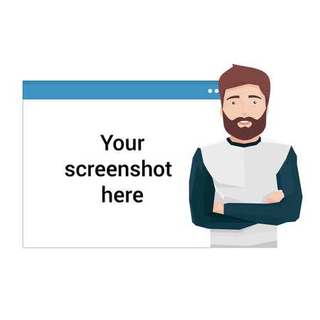 Illustration vectorielle dans le style plat d'un bel homme devant un navigateur Web Banque d'images - 74888147