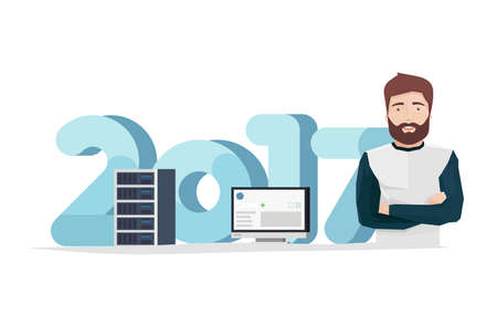 Vector Illustration in Flat Style of a Handsome Man with Server Rack and Monitor in Front of Big Digits Ilustração