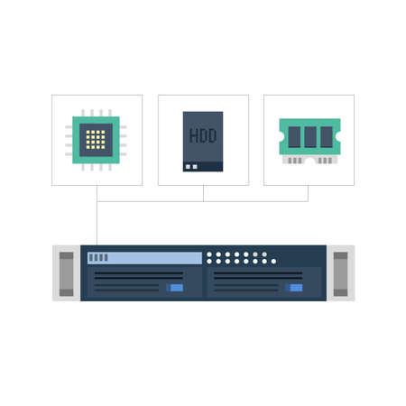 Server met zijn componenten Stock Illustratie