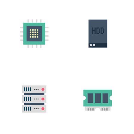 Icônes plates du serveur Banque d'images - 77116277