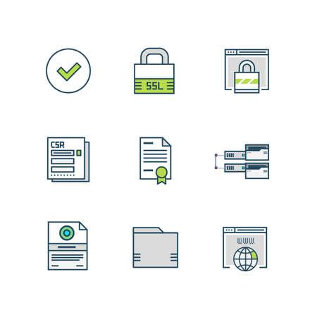 Icônes de certificat SSL Banque d'images - 82595971