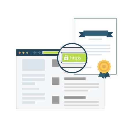Certificat SSL dans le navigateur Banque d'images - 82597124