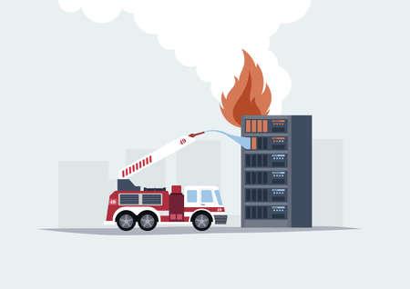 개념적 벡터 일러스트 레이 션 플랫 스타일 묘사 긴급 도움말 서버 작업. 건물 이미지에 소방차 및 서버 랙이 포함됩니다. 일러스트