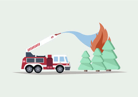Flat Vector Illustration of a Fire Engine Fights with a Wild Forest Fire