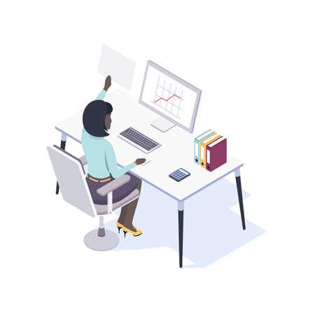 Afro-américaine employée de bureau assise au bureau à l'aide de la souris et d'un ordinateur. Vue de dos. Illustration vectorielle en style isométrique. Banque d'images - 94797009